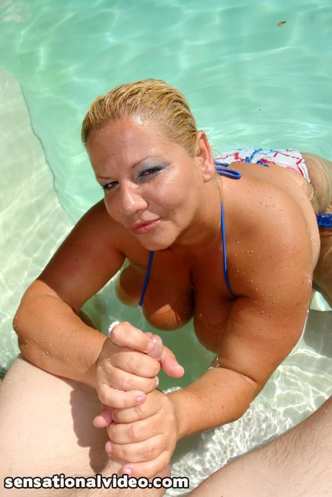 Busty bikini blowjob